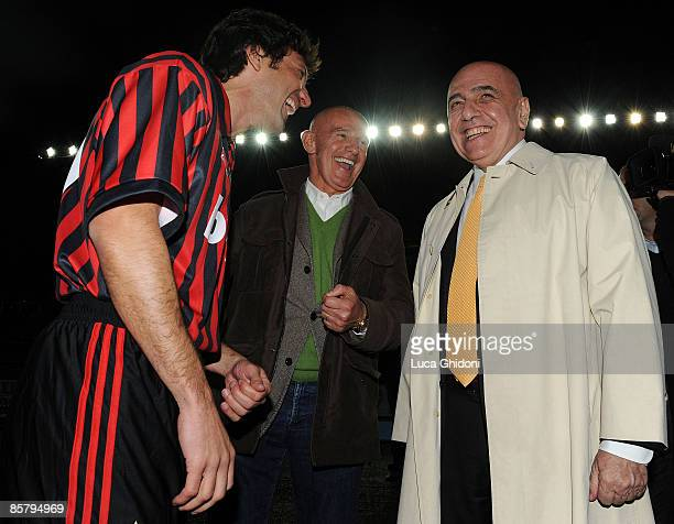 Leonardo President of AC Milan Adriano Galliani and Arrigo Sacchi attend the charity football match between Milan Glorie and Brescia Glorie at the...