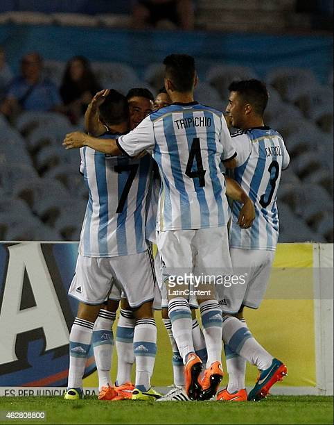 Leonardo Rolon of Argentina celebrates after scoring during a match between Argentina and Paraguay as part of the fourth round of the second stage of...