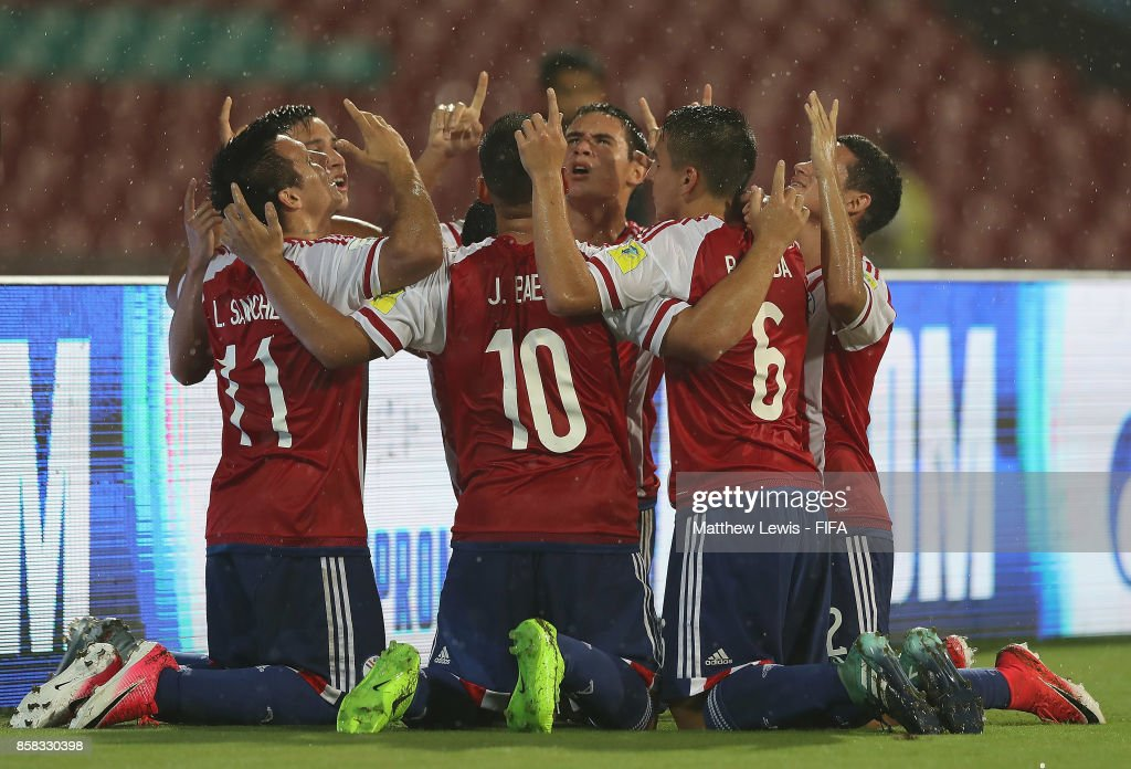 Leonardo Sanchez of Paraguay is congratulated on his goal during the FIFA U-17 World Cup India 2017 group B match between Paraguay and Mali at Dr DY Patil Cricket Stadium on October 6, 2017 in Mumbai, India.