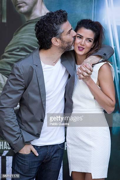 Leonardo Sbaraglia and Clara Lago attends 'Al Final Del Tunel' photocall at Warner Bros office on August 8 2016 in Madrid Spain