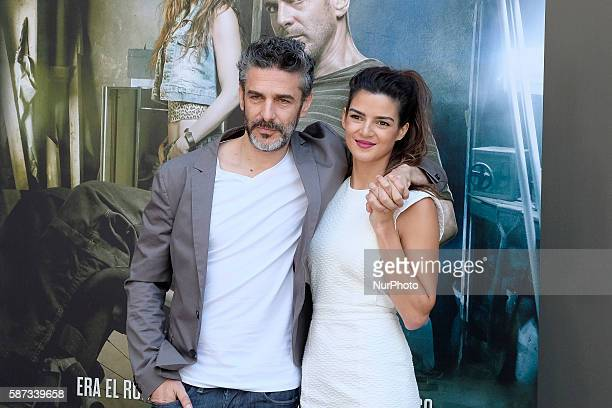 Leonardo Sbaraglia and Spanish actress Clara Lago attends 'Al Final Del Tunel' photocall at Warner Bros office on August 8 2016 in Madrid Spain