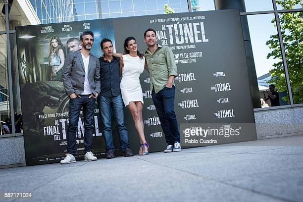 Leonardo Sbaraglia Rodrigo Grande Clara Lago and Javier Godino attend 'Al Final Del Tunel' photocall at Warner Bros office on August 8 2016 in Madrid...
