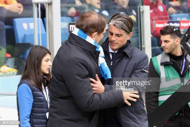 Leonardo Semplici and Diego Lopez during the serie A match between Cagliari Calcio and Spal at Stadio Sant'Elia on February 4 2018 in Cagliari Italy