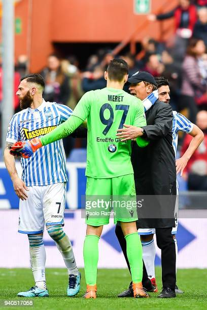 Leonardo Semplici coach of Spal celebrates with Mirco Antenucci and Alex Meret after the serie A match between Genoa CFC and Spal at Stadio Luigi...