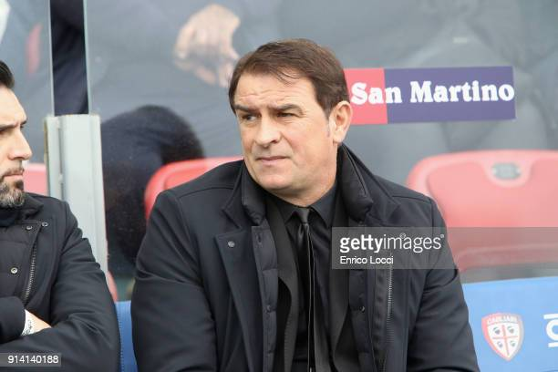 Leonardo Semplici coach of Spal looks on during the serie A match between Cagliari Calcio and Spal at Stadio Sant'Elia on February 4 2018 in Cagliari...