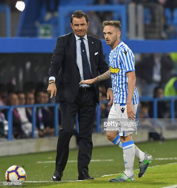 Leonardo Semplici head coach of Spal and Manuel Lazzari of Spal during the serie A match between SPAL and US Sassuolo at Stadio Paolo Mazza on...