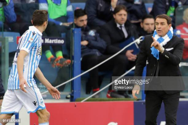 Leonardo Simplici coach of Spal reacts during the serie A match between Cagliari Calcio and Spal at Stadio Sant'Elia on February 4 2018 in Cagliari...