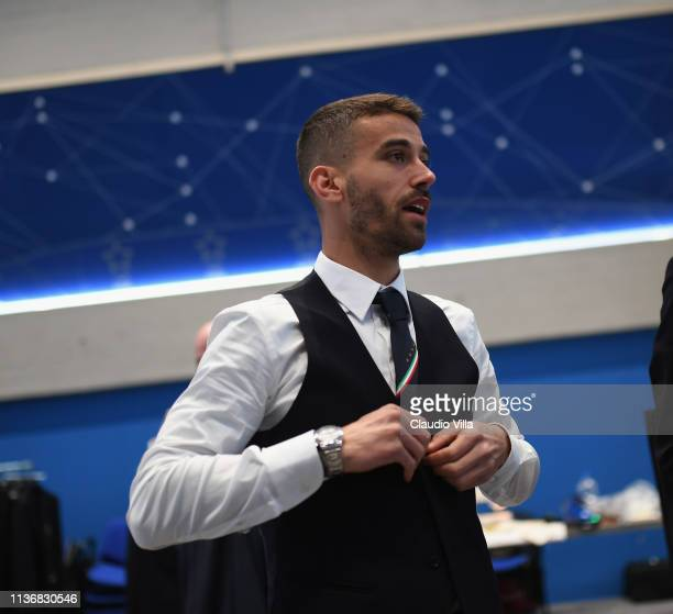 Leonardo Spinazzola looks on ahead of the Italy team photo with the new Armani suit at Centro Tecnico Federale di Coverciano on March 19 2019 in...