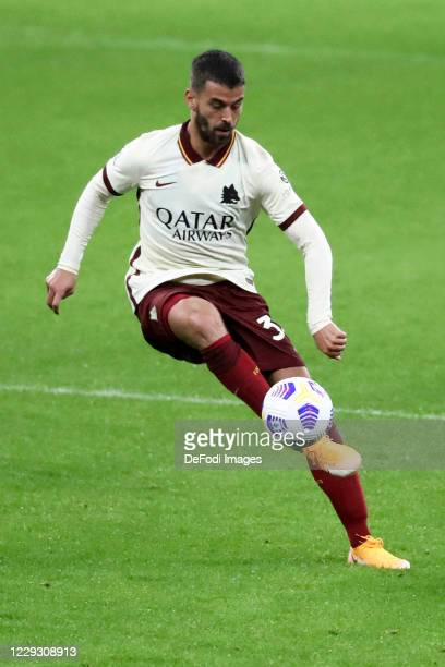 Leonardo Spinazzola of AS Roma controls the ball during the Serie A match between AC Milan and AS Roma at Stadio Giuseppe Meazza on October 26 2020...