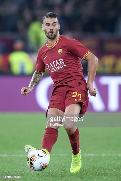 Leonardo Spinazzola of AS Roma during the Serie A match between AS Roma and AC Milan at Stadio Olimpico Rome Italy on 27 October 2019