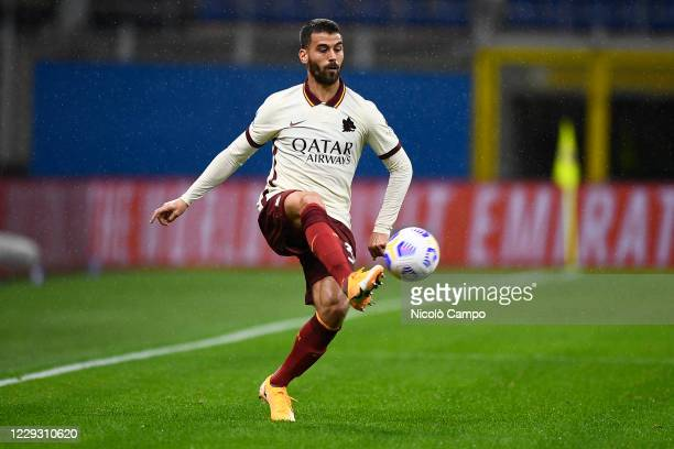 Leonardo Spinazzola of AS Roma in action during the Serie A football match between AC Milan and AS Roma The match ended 33 tie