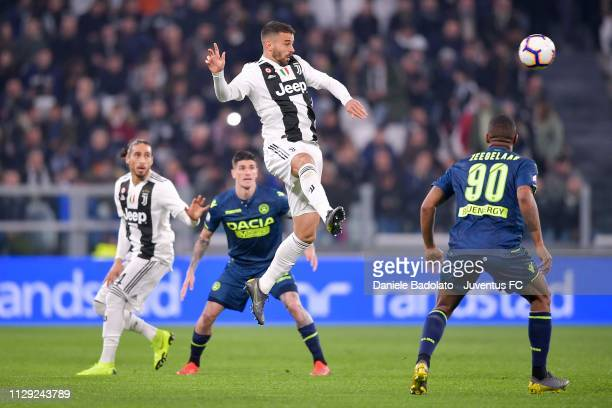 Leonardo Spinazzola of Juventus goes up during the Serie A match between Juventus and Udinese at Allianz Stadium on March 8 2019 in Turin Italy