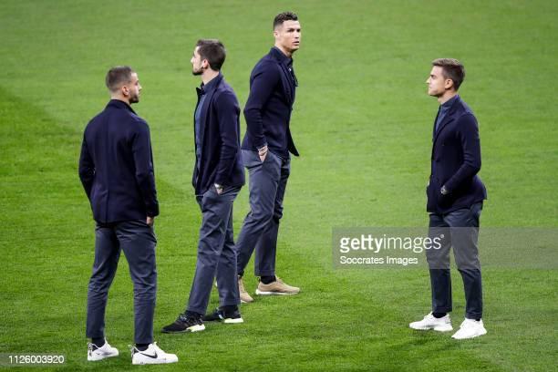 Leonardo Spinazzola of Juventus Mattia Perin of Juventus Cristiano Ronaldo of Juventus Paulo Dybala of Juventus during the Press Conference Juventus...