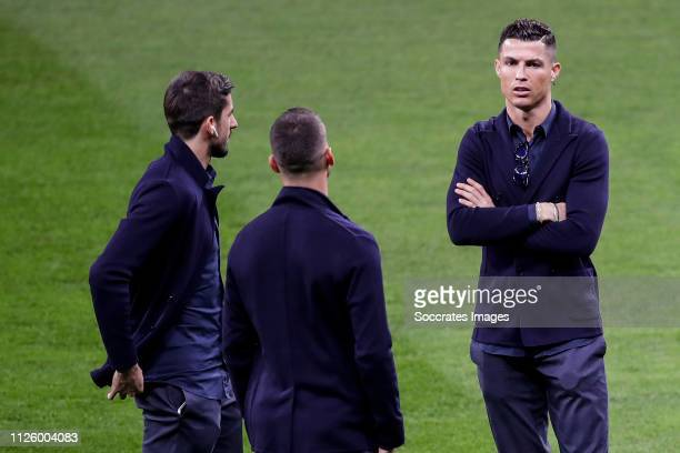 Leonardo Spinazzola of Juventus Mattia Perin of Juventus Cristiano Ronaldo of Juventus during the Press Conference Juventus on February 19 2019