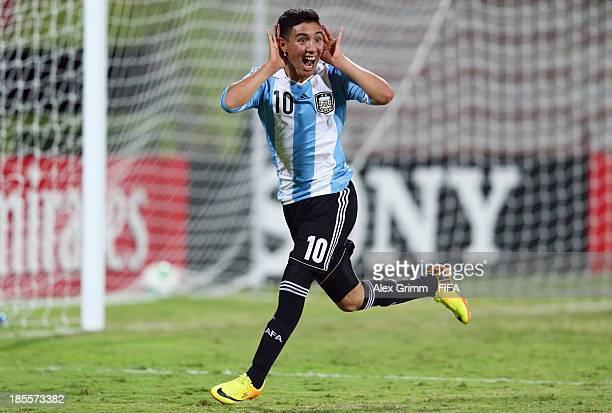Leonardo Suarez of Argentina celebrates his team's third goal during the FIFA U-17 World Cup UAE 2013 Group E match between Argentina and Austria at...