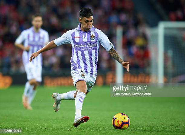 Leonardo Suarez of Real Valladolid CF in action during the La Liga match between Athletic Club and Real Valladolid CF at San Mames Stadium on...