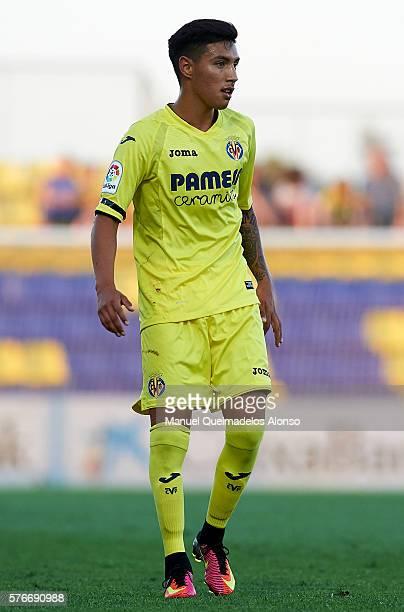 Leonardo Suarez of Villarreal looks on during the friendly match between Villarreal CF and CD Hospitalet at Ciudad Deportiva of Miralcamp on July 16...