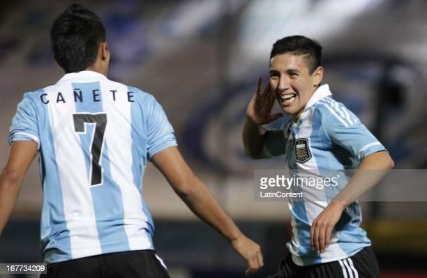 Leonardo Suárez of Argentina celebrates a goal during a match between Argentina and Venezuela as part of the U17 South American Championship at Juan...