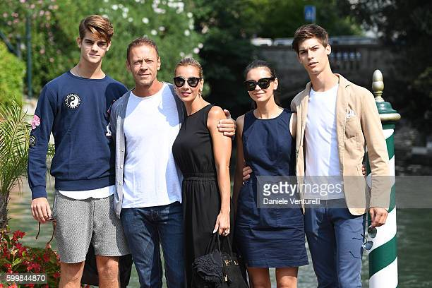 Leonardo Tano Rocco Siffredi Rosa Caracciolo Laura Medcalf and Lorenzo Tano are seen arrive at the Lido during the 73rd Venice Film Festival on...