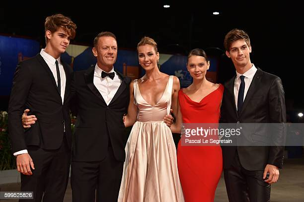 Leonardo Tano Rocco Siffredi Rosa Caracciolo Laura Medcalf Lorenzo Tano attend the premiere of 'Rocco' during the 73rd Venice Film Festival at Sala...