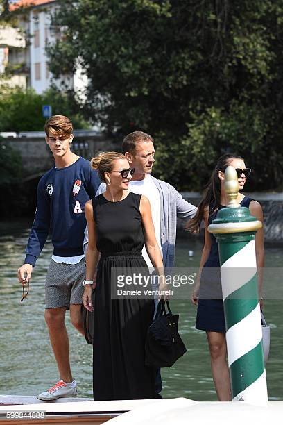 Leonardo Tano Rosa Caracciolo Rocco Siffredi and Laura Medcalf arrive at the Lido during the 73rd Venice Film Festival on September 7 2016 in Venice...