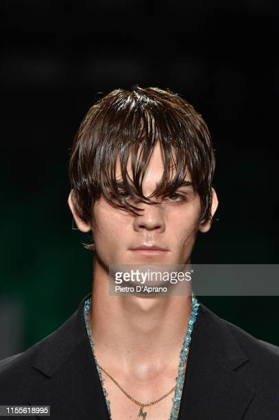 Leonardo Tano walks the runway at the MSGM fashion show at Pitti Immagine Uomo 96 on June 13 2019 in Florence Italy
