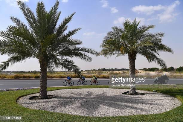 Leonardo Tortomasi of Italy and Team Vini Zabu' KTM / Nikolai Cherkasov of Russia and Team Gazprom - Rusvelo / Cristian Scaroni of Italy and Team...