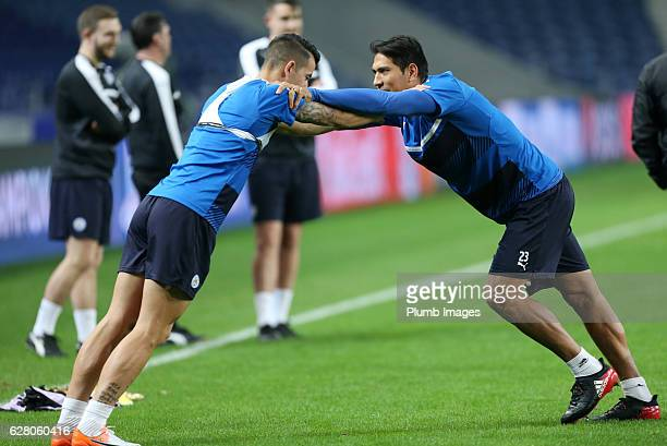 Leonardo Ulloa and Luis Hernandez of Leicester City during the training session at Estadio do Dragao ahead the Champions Leagues match between FC...