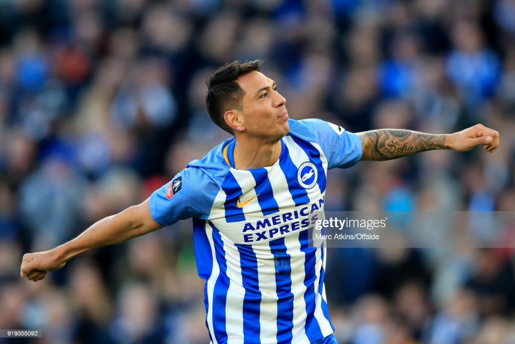 Leonardo Ulloa of Brighton and Hove Albion celebrates scoring their 3rd goal during the FA Cup Fifth Round match between Brighton and Hove Albion and Coventry City at Amex Stadium on February 17, 2018 in Brighton, England.