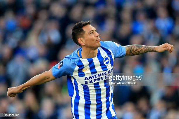 Leonardo Ulloa of Brighton and Hove Albion celebrates scoring their 3rd goal during the FA Cup Fifth Round match between Brighton and Hove Albion and...