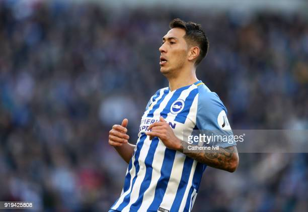 Leonardo Ulloa of Brighton and Hove Albion during the Emirates FA Cup Fifth Round match between Brighton and Hove Albion and Coventry City at Amex...