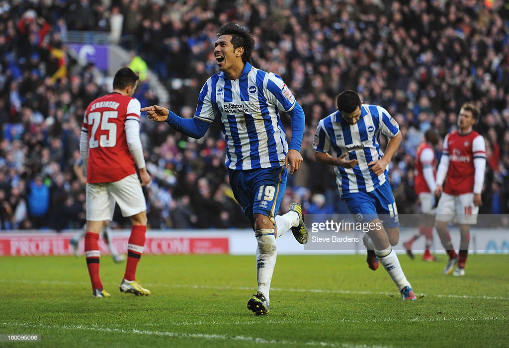 Leonardo Ulloa of Brighton & Hove Albion (19) celebrates as he scores their second goal with a diving header during the FA Cup with Budweiser Fourth Round match between Brighton & Hove Albion and Arsenal at Amex Stadium on January 26, 2013 in Brighton, England.