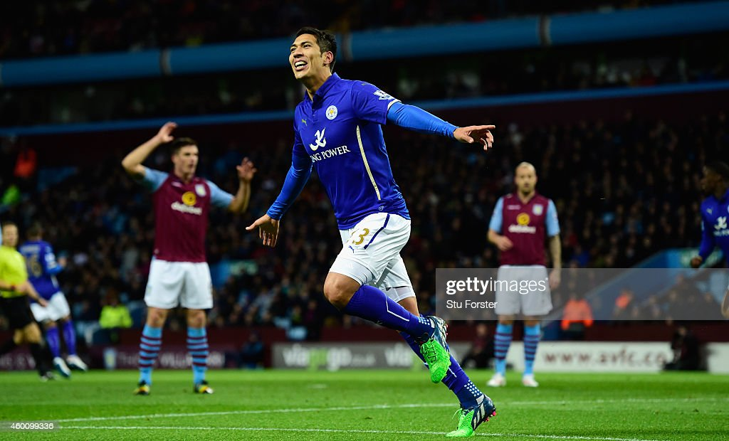 Leonardo Ulloa of Leicester celebrates after scoring the first goal during the Barclays Premier League match between Aston Villa and Leicester City at Villa Park on December 7, 2014 in Birmingham, England.