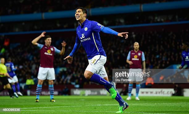 Leonardo Ulloa of Leicester celebrates after scoring the first goal during the Barclays Premier League match between Aston Villa and Leicester City...