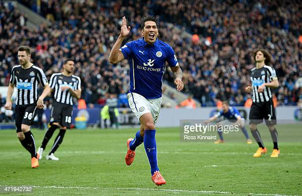 Leonardo Ulloa of Leicester City celebrates after he scores from the penalty spot during the Barclays Premier League match between Leicester City and...