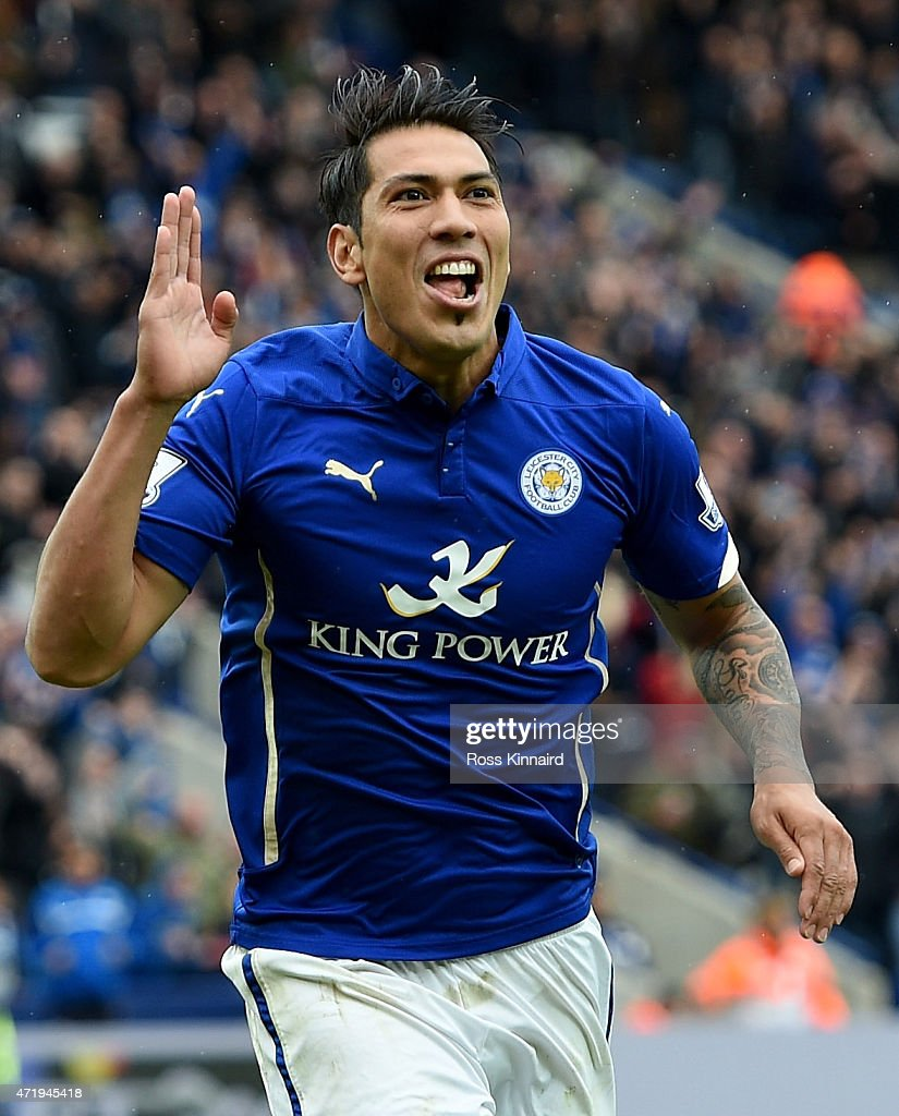 Leonardo Ulloa of Leicester City celebrates after he scores from the penalty spot during the Barclays Premier League match between Leicester City and Newcastle United at The King Power Stadium on May 2, 2015 in Leicester, England.