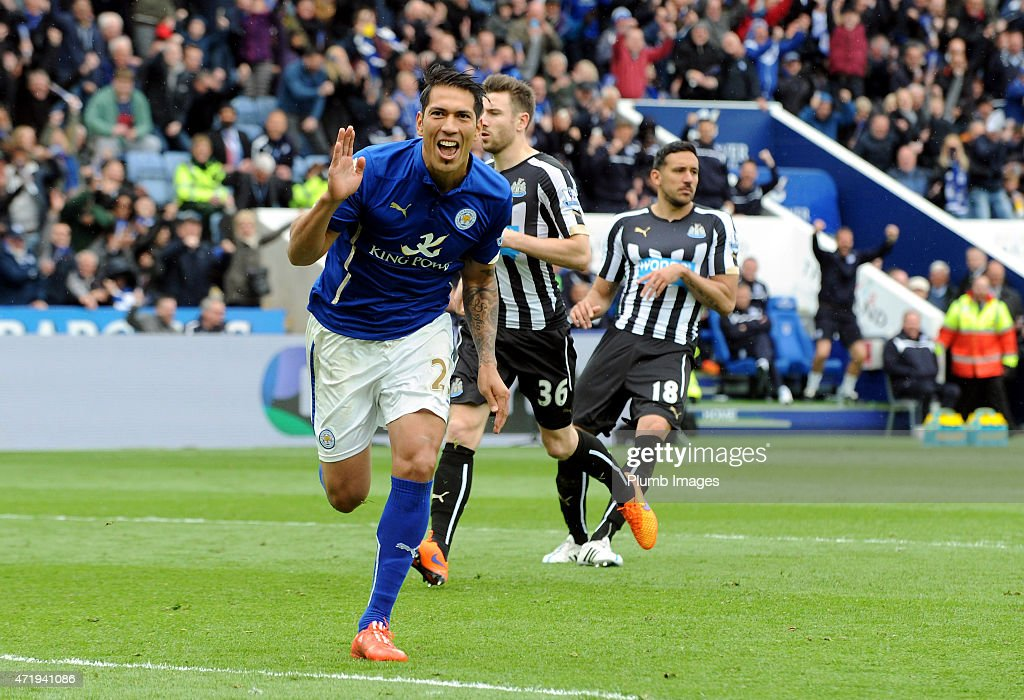 Leonardo Ulloa of Leicester City celebrates after scoring his second goal during the Premier League game between Leicester City and Newcastle United at The King Power Stadium on May 2, 2015 in Leicester, England.