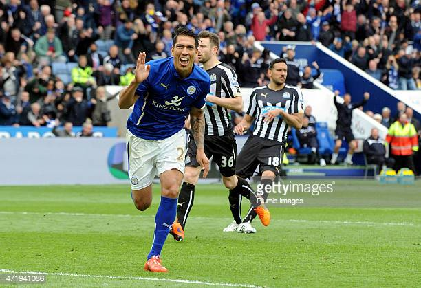 Leonardo Ulloa of Leicester City celebrates after scoring his second goal during the Premier League game between Leicester City and Newcastle United...