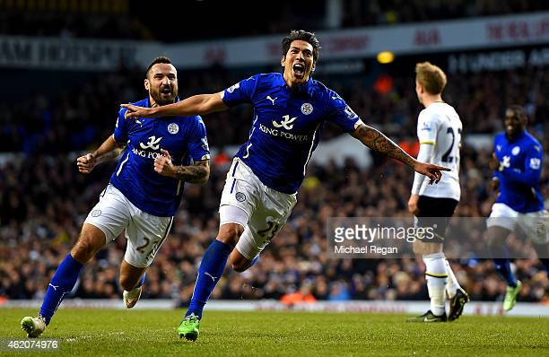 Leonardo Ulloa of Leicester City celebrates after scoring his team's first goal during the FA Cup Fourth Round match between Tottenham Hotspur and...