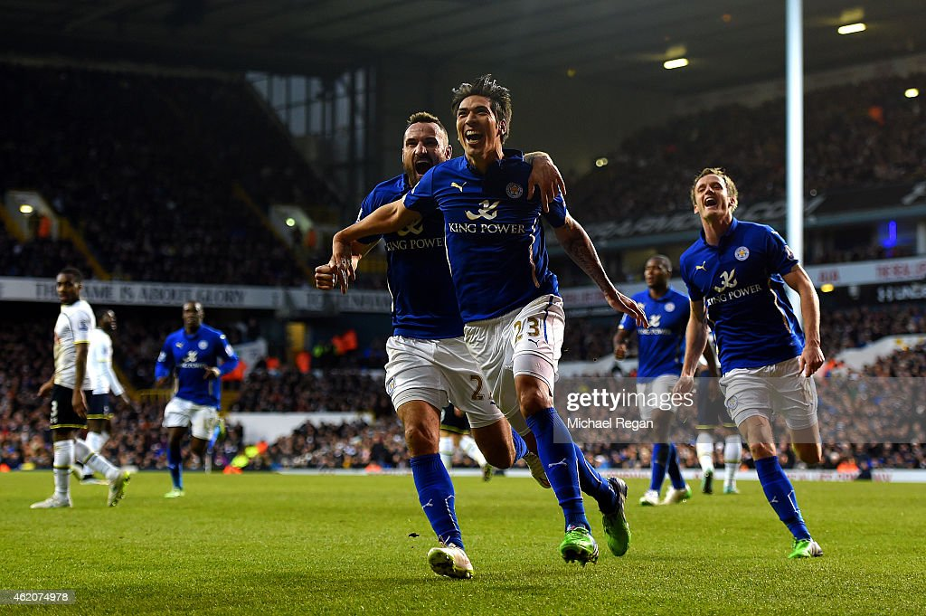 Leonardo Ulloa of Leicester City celebrates after scoring his team's first goal during the FA Cup Fourth Round match between Tottenham Hotspur and Leicester City at White Hart Lane on January 24, 2015 in London, England.