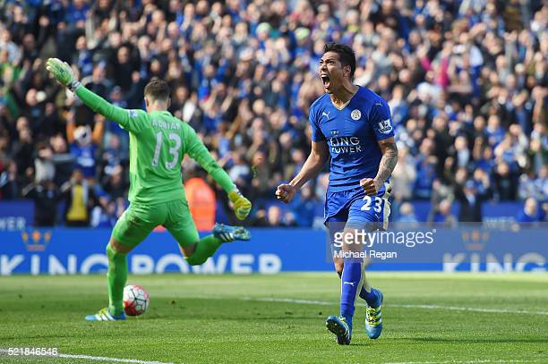 Leonardo Ulloa of Leicester City celebrates after scoring his team's second goal of the game from the penalty spot during the Barclays Premier League...