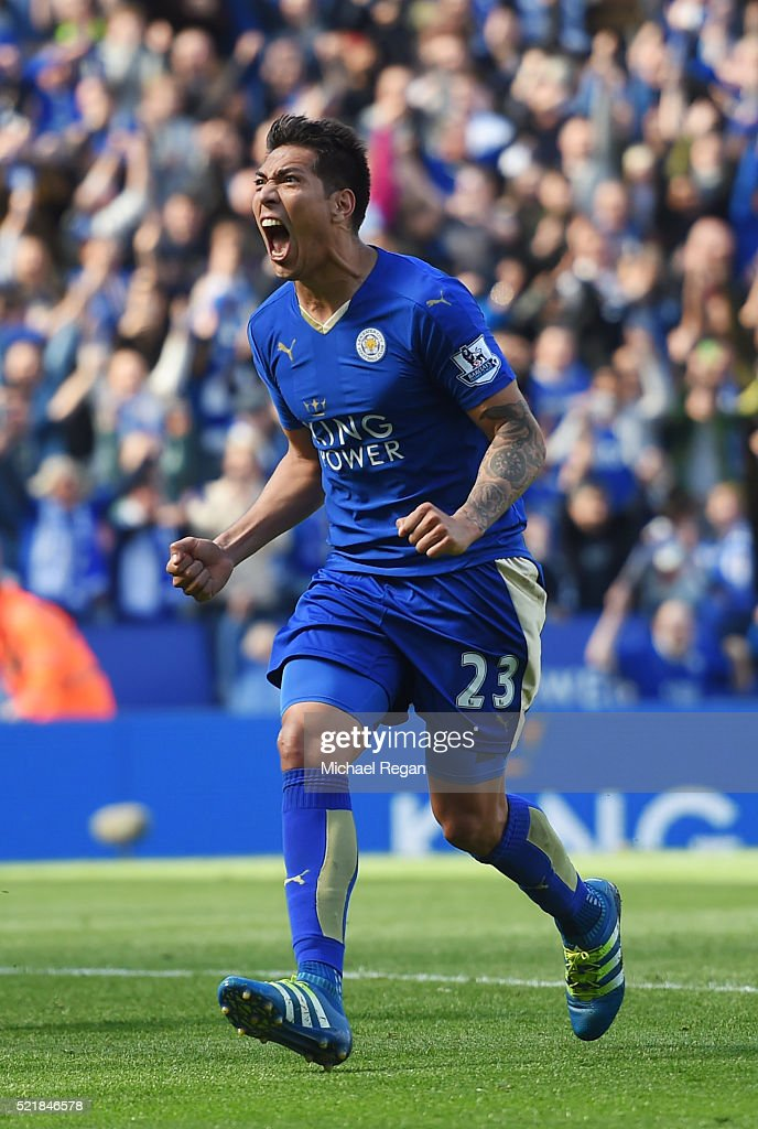 Leonardo Ulloa of Leicester City celebrates after scoring his team's second goal of the game from the penalty spot during the Barclays Premier League match between Leicester City and West Ham United at The King Power Stadium on April 17, 2016 in Leicester, England.