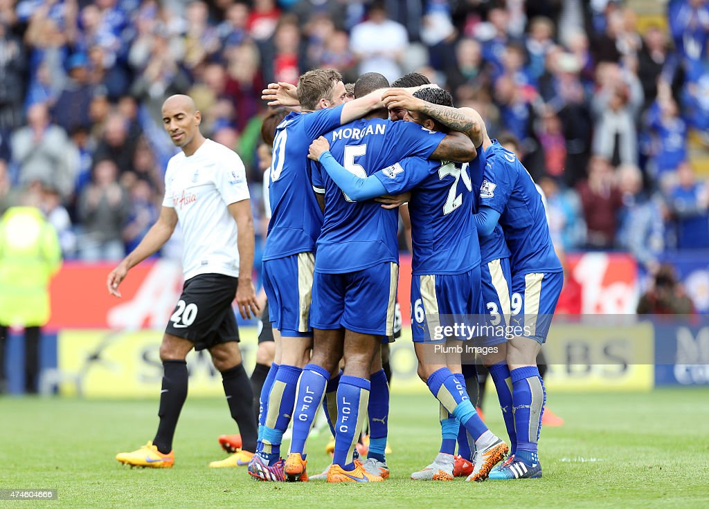 Leonardo Ulloa (#23) of Leicester City celebrates after scoring to make it 3-0 during the Premier League match between Leicester City and Queens Park Rangers at The King Power Stadium on May 24, 2015 in Leicester, England.