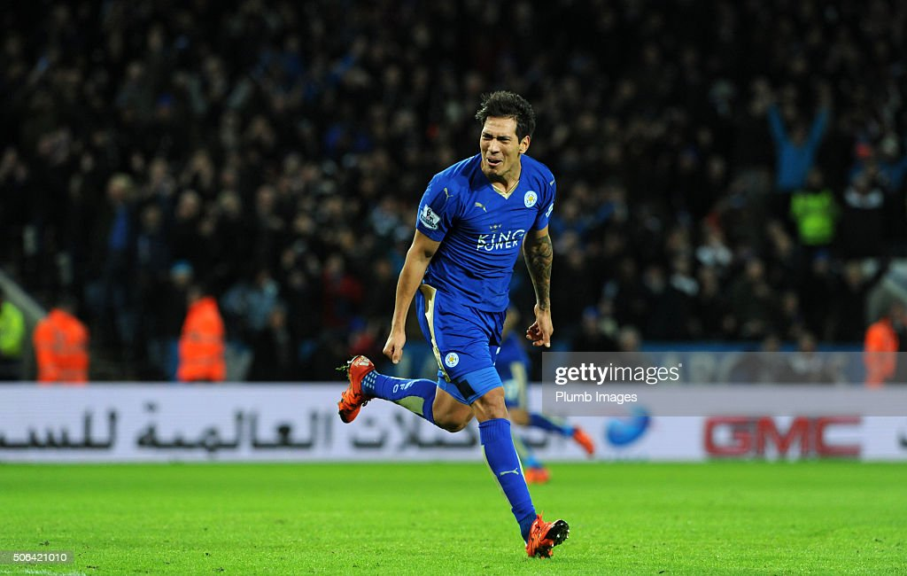 Leonardo Ulloa of Leicester City celebrates after scoring to make it 3-0 during the Barclays Premier League match between Leicester City and Stoke City at the King Power Stadium on January 23 , 2016 in Leicester, United Kingdom.