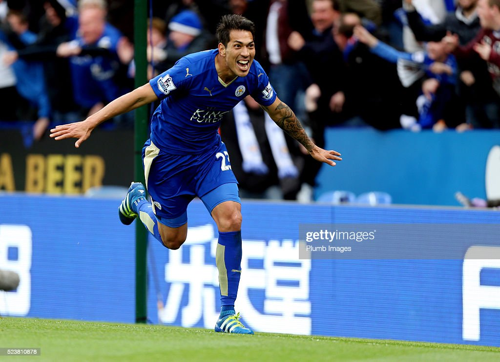 Leonardo Ulloa of Leicester City celebrates after scoring to make it 3-0 during the Barclays Premier League match between Leicester City and Swansea City at the King Power Stadium on April 24 , 2016 in Leicester, United Kingdom.