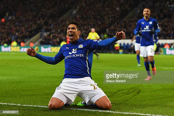 Leonardo Ulloa of Leicester City celebrates after Simon Mignolet of Liverpool opens the scoring with an own goal during the Barclays Premier League...