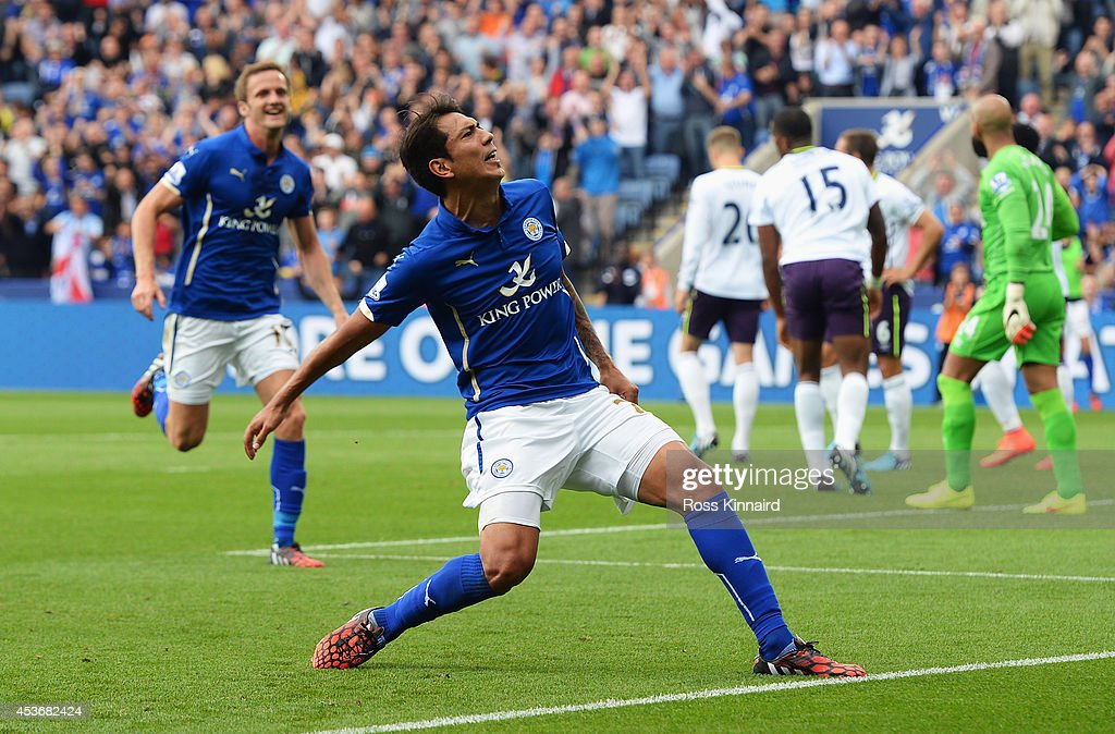 Leonardo Ulloa of Leicester City celebrates scoring his goal during the Barclays Premier League match between Leicester City and Everton at the King Power Stadium on August 16, 2014 in Leicester, England.
