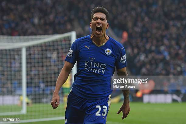 Leonardo Ulloa of Leicester City celebrates scoring his team's first goal during the Barclays Premier League match between Leicester City and Norwich...