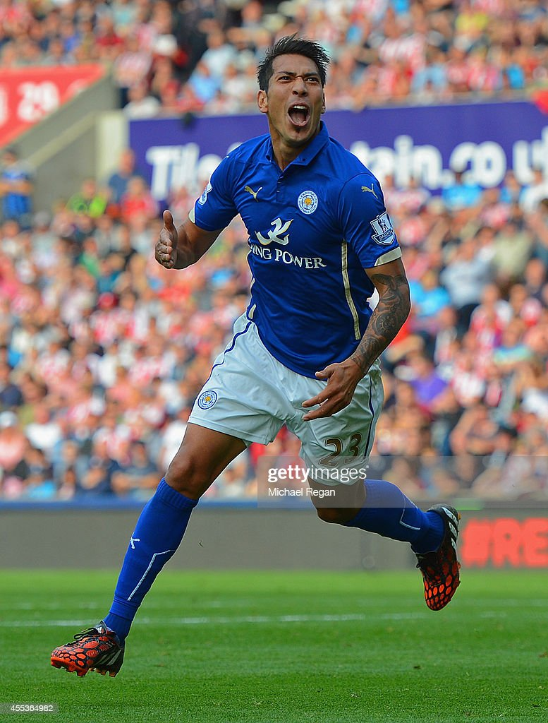Leonardo Ulloa of Leicester City celebrates scoring the opening goal during the Barclays Premier League match between Stoke City and Leicester City at Britannia Stadium on September 13, 2014 in Stoke on Trent, England.