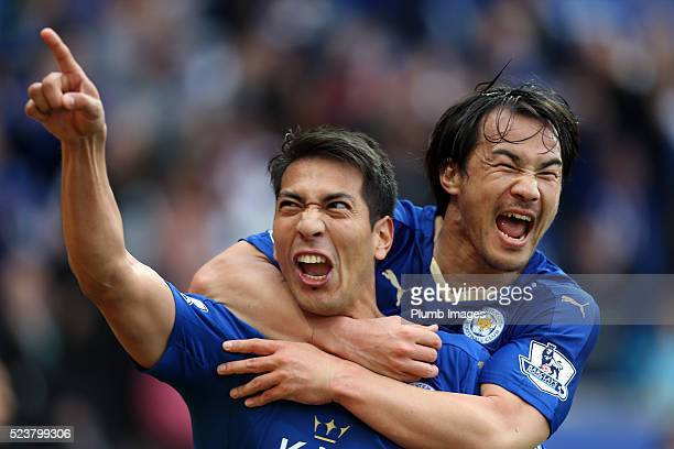 Leonardo Ulloa of Leicester City celebrates with Shinji Okazaki of Leicester City after scoring to make it 20 during the Barclays Premier League...